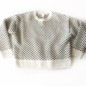 H & M Men's White & Black Patterned Sweater